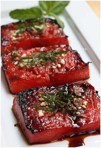 Watermelon Steaks with Feta, Mint & Balsamic Glaze - sounds amazing!