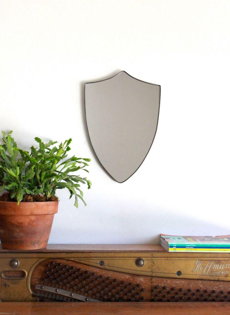 Shield Mirror Crest Mirror Handmade Mirror Wall Mirror Shape Wall Art Badge by fluxglass on Etsy https://www.etsy.com/listing/92519126/shield-mirror-crest-mirror-handmade