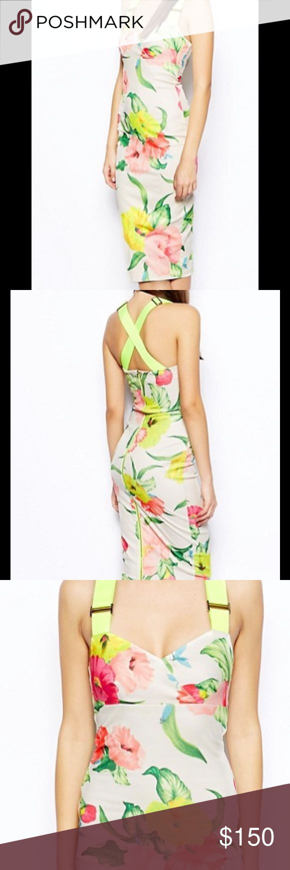 Ted Baker Taylar Midi Dress This fun floral print dress has adjustable crossover neon shower straps zipper along back. Great for any spring event ! Ted Baker London Dresses Midi