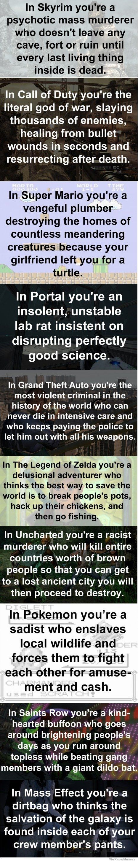Skyrim, Saints Row, Grand Theft Auto, and Mass Effect I all played..too funny kinda true though