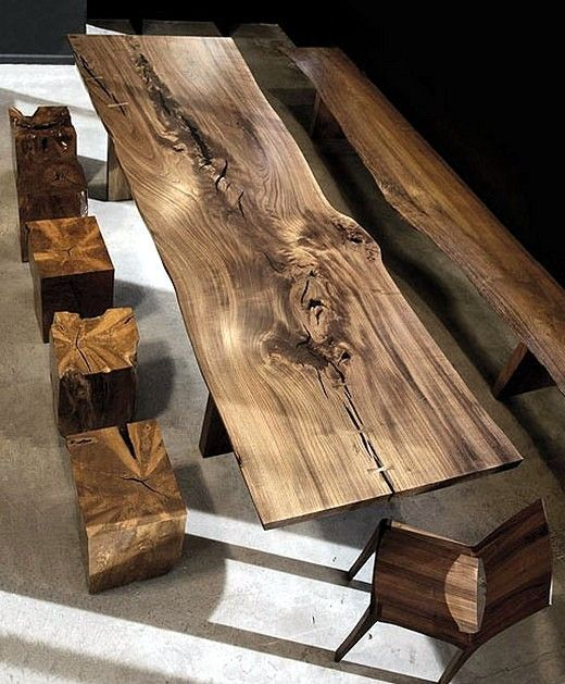 Modern living room furniture in solid wood and exotic colored -  We present a new approach to interior design - modern living room furniture with exotic dark color and a rustic look.