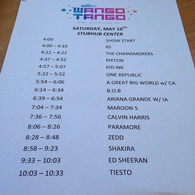 LAS CADERAS TABASCO: Horario de Shakira en Wango Tango