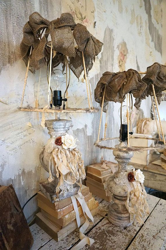 Rustic farmhouse mismatched table lamps w/ deconstructed shades distressed dirty white taupe bases lampshade lighting home decor anita spero design These are sold together. I will not separate them. One of a kind lamps These are large lamps- full size table lamps. overall: 25 tall ,