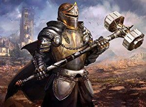 Обои Рыцарь Воители Доспехи Шлем Боевой молот Duel of Legends Игры Фэнтези