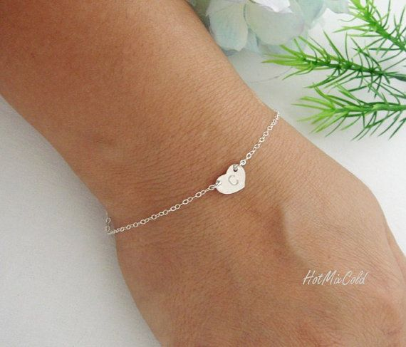 Monogram Bracelet STERLING silver Heart Jewelry by hotmixcold
