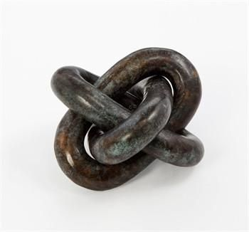 "Wynn Verdigris Knot Sculpture design by Interlude Home Dimensions: 5""h x 6"" x 6"" Material: bronze Finish: verdigris Item Notes: A bronze knot in a verdigris finish makes a handsome accent on any surfa"