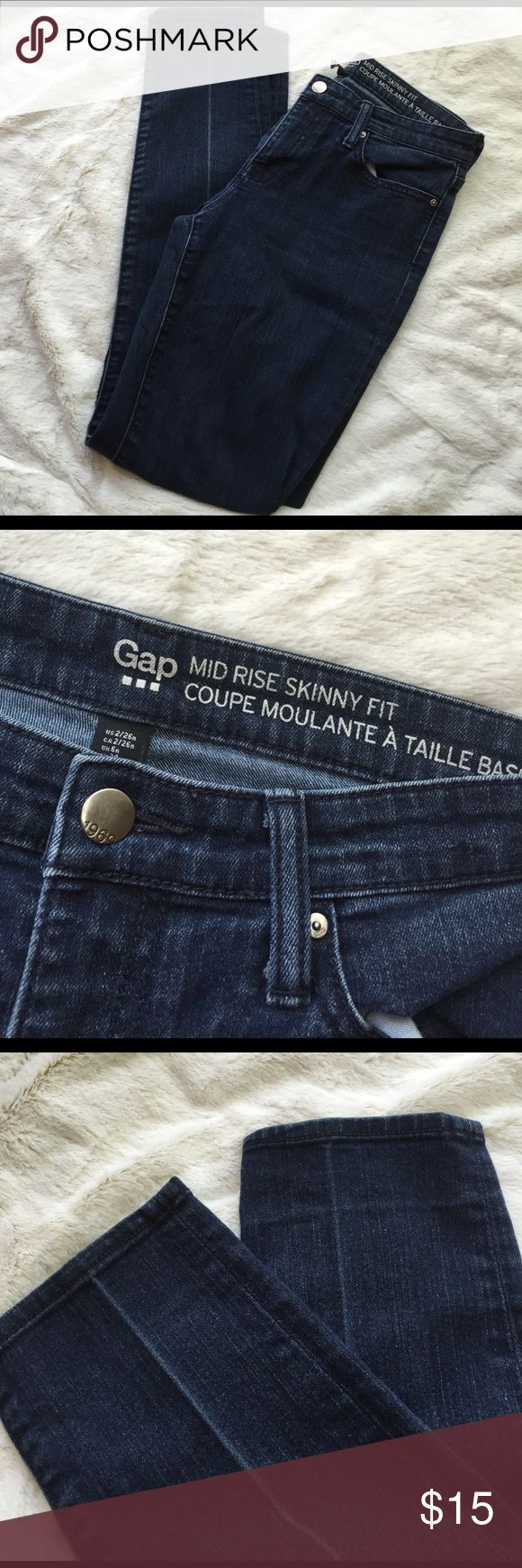 """1969 Gap Mid Rise Skinny Fit Jeans New gap mid rise skinny jeans. Perfect conditions no fraying on bottoms or pockets. Zipper works. Dark wash. Size 2 /26. 28.5"""" inseam GAP Jeans Skinny"""