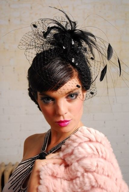 Black felt sequined cocktail hat by alicehartcouture on for Cocktail 222