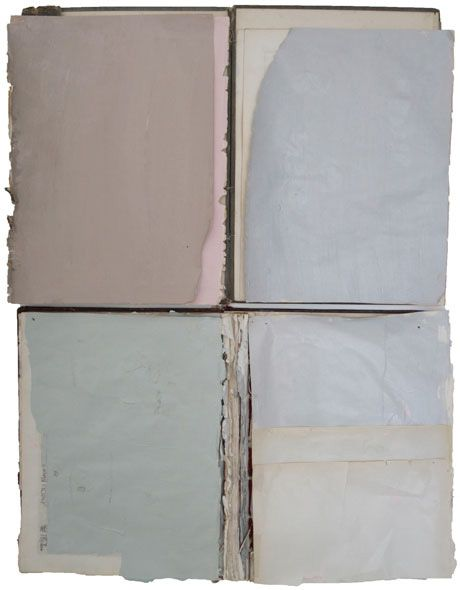 Nan Swid, Title: Book 1, Materials: Dismantled Books and Acrylic found via spine out