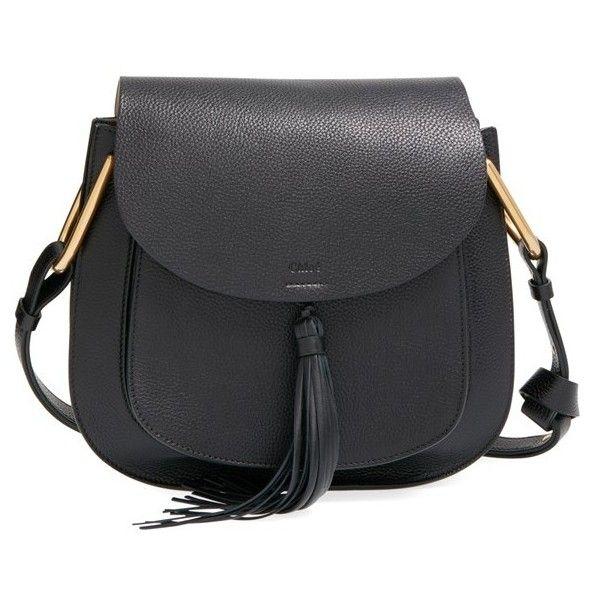 Chloe 'Medium Hudson' Shoulder Bag (€1.625) ❤ liked on Polyvore featuring bags, handbags, shoulder bags, black, structured handbag, equestrian purse, black shoulder bag, tassel purse and chloe handbags