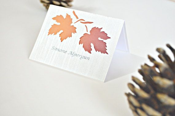 Fall wedding place cards, leaves wedding place cards, fall wedding placement cards, leaf wedding placement cards, fall escort cards,