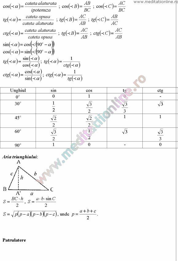 Formule matematica gimnaziu 5 8 Formule si teorie Geometrie plana si in spatiu si Trigonometrie pagina 8