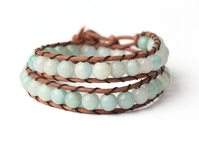 Warp Around Bracelet Stone Warp Bracelet Amazonite Bracelet Stone Bracelet Leather Bracelet Turn Bracelet Boho Bracelet Blue Bracelet Warp by EchosHealingStones on Etsy