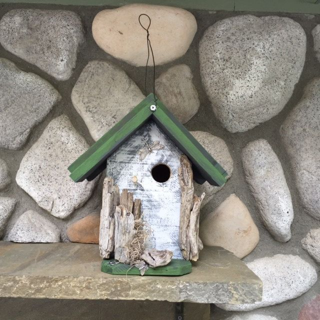 Rustic Birdhouse Primitive & Shabby Chic - Functional for ...