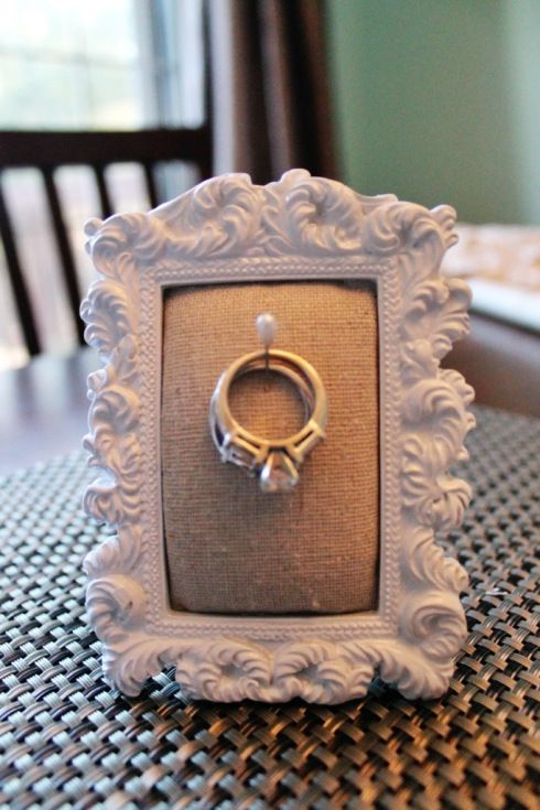 DIY: Ring Holder Frame...great by the kitchen sink  (Antonia- My Mum is always throwing hers in the cutlery drawer, I put mine (engagement ring) on the drawers next to my bed or by the sink when washing up lol)