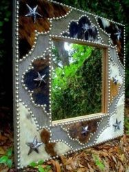 "FANCY COWHIDE 22"" SQUARE FRAME WITH 12"" SQUARE MIRROR 