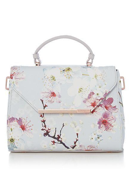 Ted Baker Harmon large floral crosshatch tote bag