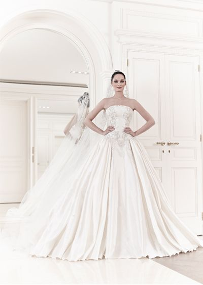 White and Gold Wedding. Sweetheart Corset Ballgown Dress. Zuhair Murad Bridal Collection Spring/Summer 2014