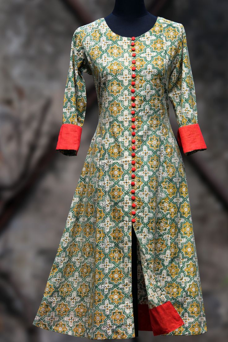 an elegant anarkali in lemon yellow hand-block printed bagru and fabric buttons and tangerine orange mangalgiri border and sleeve cuffs! orange dupatta - on r