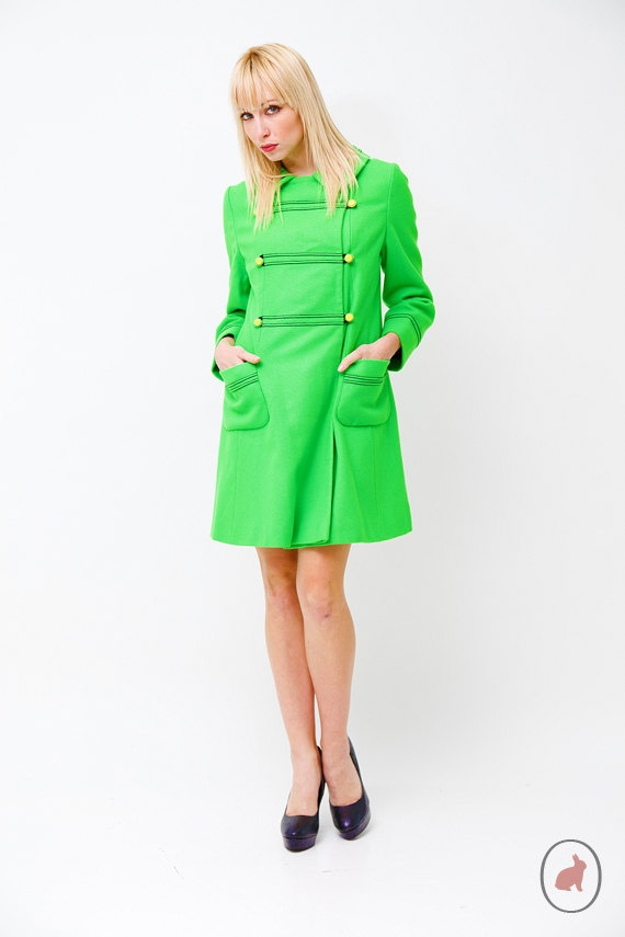 Vintage1960s Kelly Green Mod Pea Coat  Mad Men Coat  by SHOPAT851, $98.00