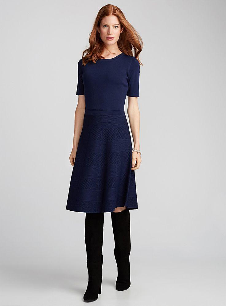 La robe tricot carreaux texturés | Contemporaine | Magasinez des Robes de bureau | Simons