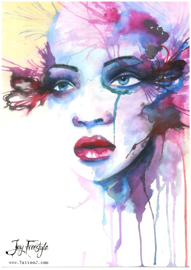 Watercolor face painting | Watercolor Paintings ...