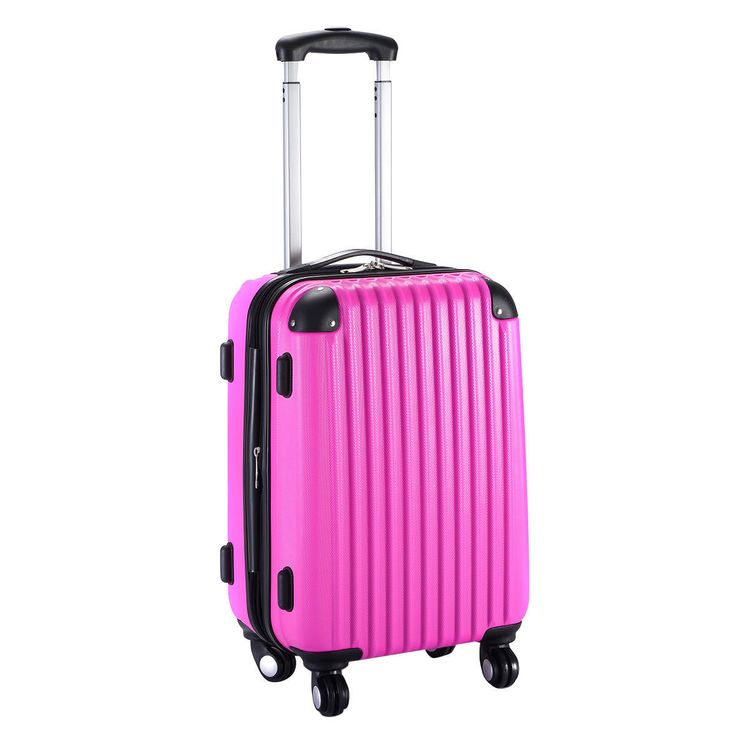 """20"""" Expandable Carry On Pink Luggage Suitcase"""