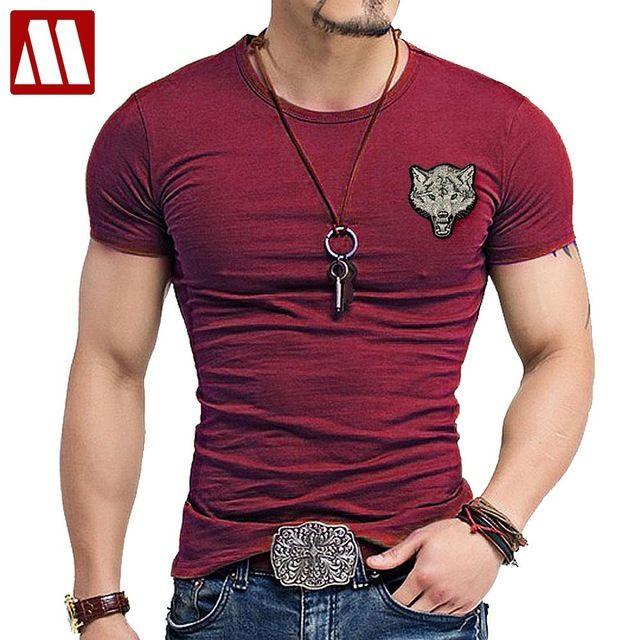 2018 Lobo bordado Camiseta de Algodão de Manga Curta T dos homens da Marca  camisa Primavera Verão Casual O pescoço Fino T-shirt Tamanho dos homens  S-5XL 2ba320e5660b6
