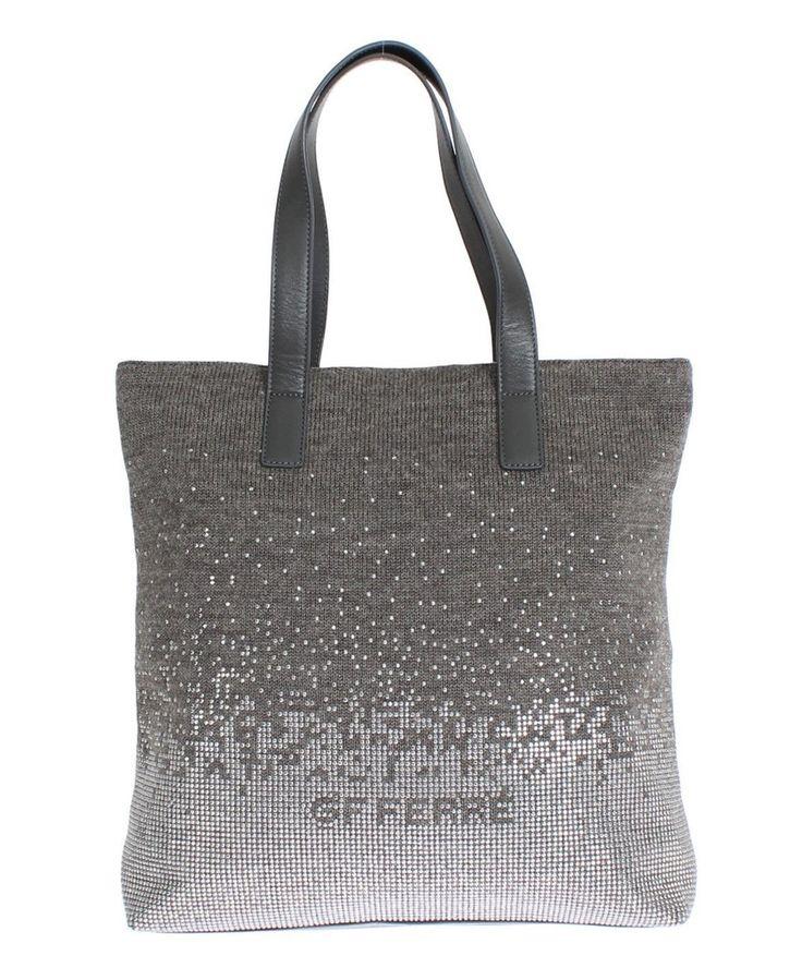 Gianfranco GF FERRE Crystal Gray Satchel Bag Handbag Tote #bag #cf-color-gray #cf-size-medium