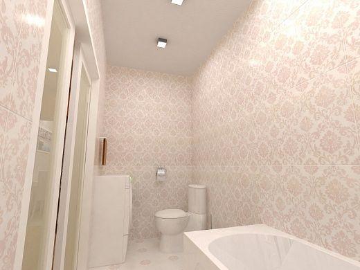Ванная комната – это современная классика в светлых тонах. На полу и стенах в одном стиле светлая плитка, имитирующая текстурой и рисунком бумажные обои. На небольшой площади ванной комнаты компактно разместили прямую напольную ванну, унитаз, умывальник и стиральную машину. Раздвижные двери помогают экономит место.