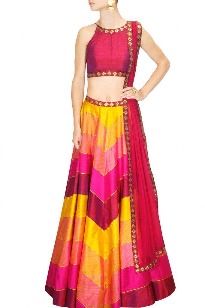 Yellow, pink Embroidered lehenga choli by Priyal Prakash