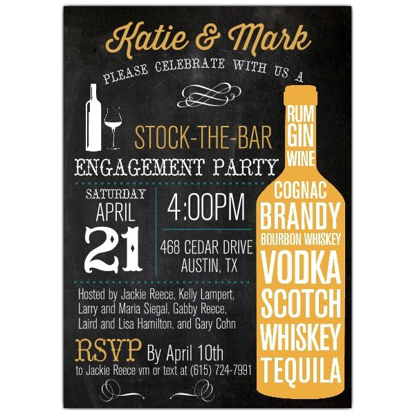 Stock The Bar Typography Engagement Party Invitations – s&m