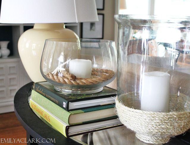 love the rope at the bottom of the vase from emily a clark designClark Design, Diy Wraps, Ropes Diy, Conch Shells, Sofas Tables, Diy Sisal, Easy Summer, Con Velitas, Ropes Tricks