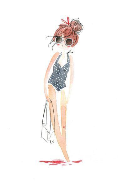 le nouveau maillot, aquarelle, Cécile Hudrisier