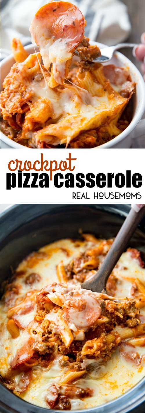 Crock Pot Pizza Casserole is an incredibly delicious meal for the entire family to enjoy! It is really easy to make, kid friendly, and perfect for busy days! via @realhousemoms