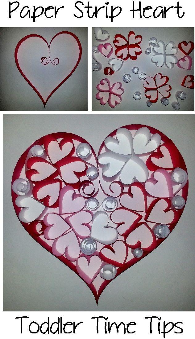 Paper strip heart. Toddler Time Tips @ https://www.facebook.com/toddlertimetips
