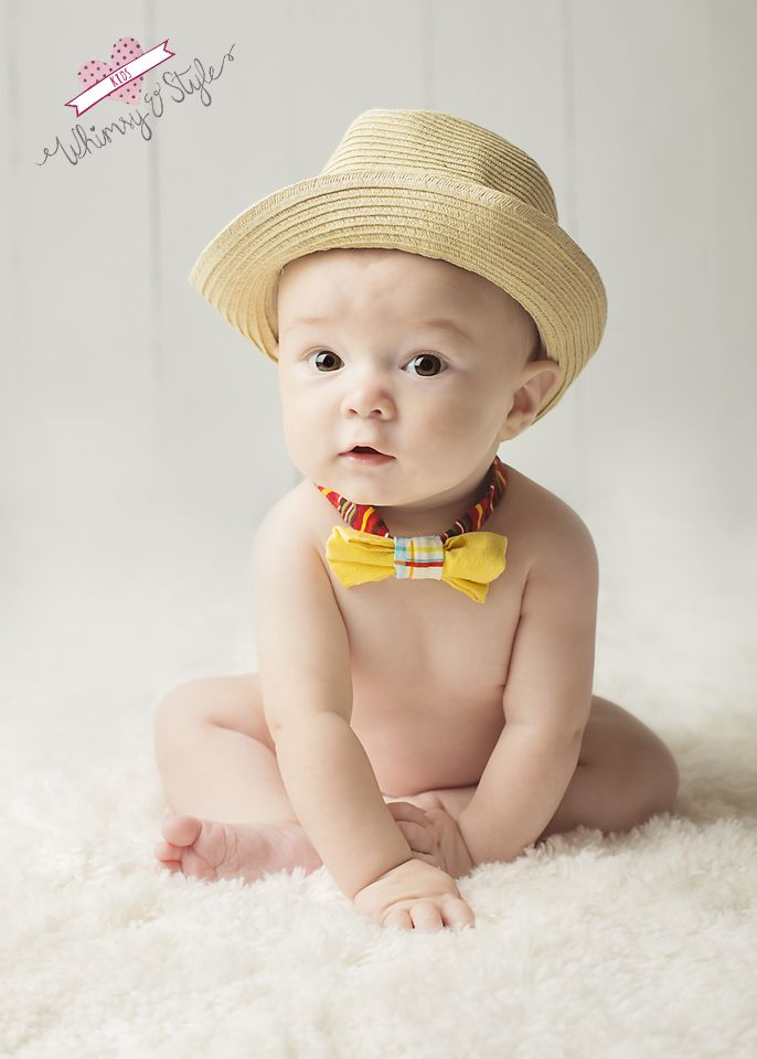 Colorado Springs photographer: baby portraits: 6 month obsession  6 month baby boy with tie and fedora photos   www.whimsyandstyle.com