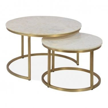 Marble Top Brass Coffee Table.Cult Living Madison Nesting Coffee Tables Marble Top Brass In 2019