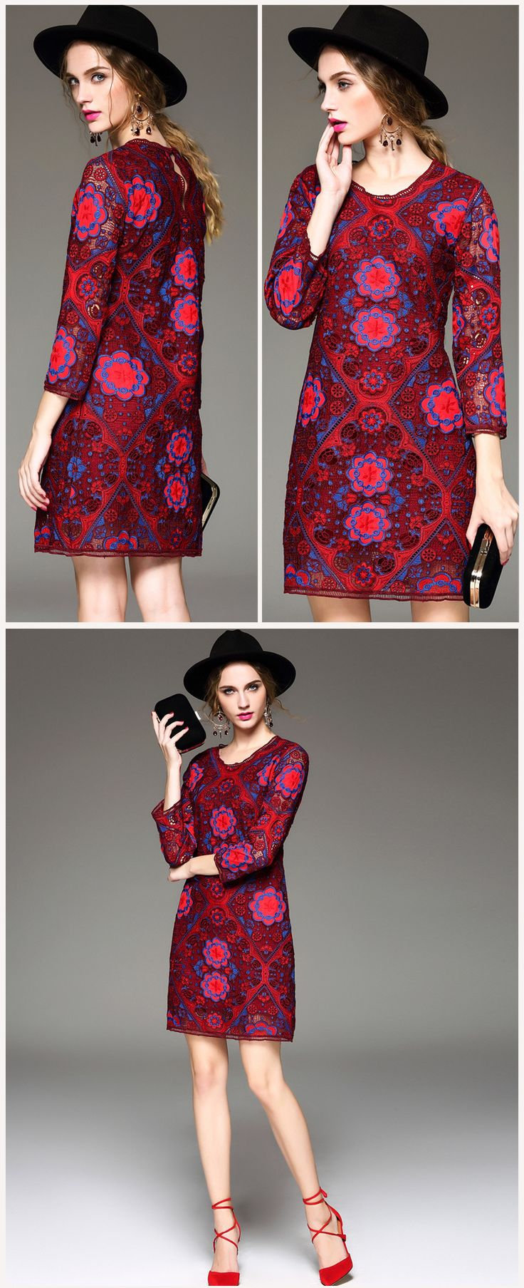 Pentru un plus de senzualitate, alege o #rochie rosie, cu o #broderie superba si nu vei da gres niciodata! #Tinuta #casual este disponibila doar pe #Topfashion.