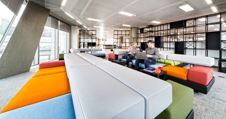 This large yet unconventional break out space at the Lonely Planet office is beautifully coloured and looks majorly versatile. #LoveWhereYouWork  LONELY PLANET SQ FT