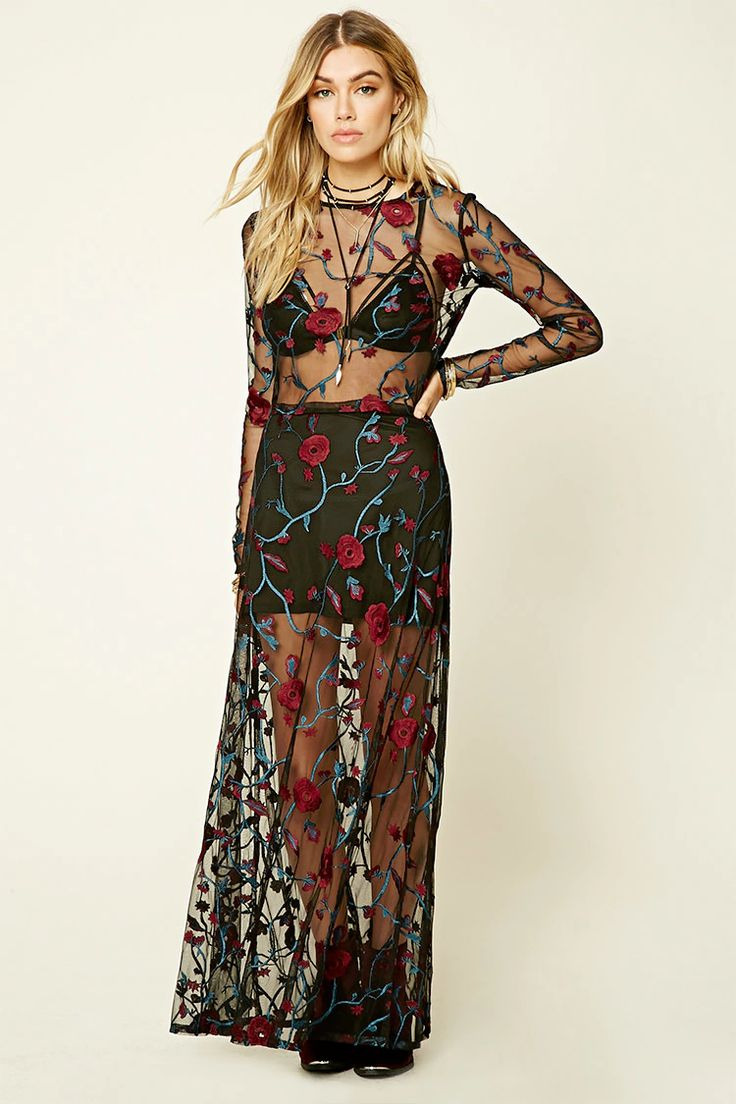Floral Embroidered Mesh Dress