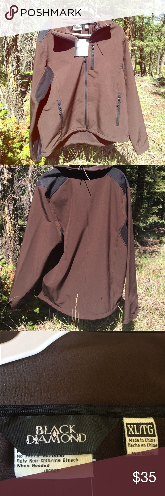 Black Diamond Soft Shell Jacket Fleece lined brown and black Men's Soft Shell Jacket. Has 2 side zipped pockets and one down the chest. Color is French Roast. Black Diamond Jackets & Coats Ski & Snowboard