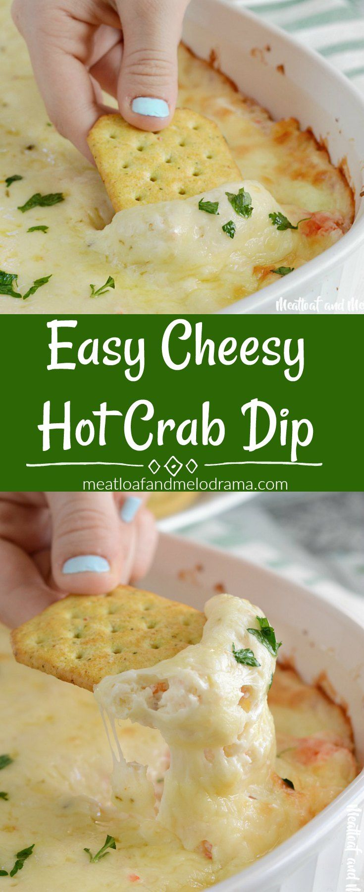 This easy cheesy Hot Crab Dip recipe makes a delicious appetizer for holiday parties, gameday, or any occasion that calls for amazing snacks.