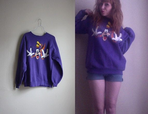 Purple Goofy Disney Pullover Sweatshirt M by RHvintage on Etsy, $25.00