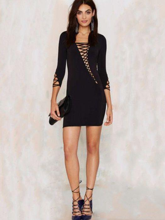 Gia Black Asymmetric Cut Out Lace Up Long Sleeve Bandage Dress