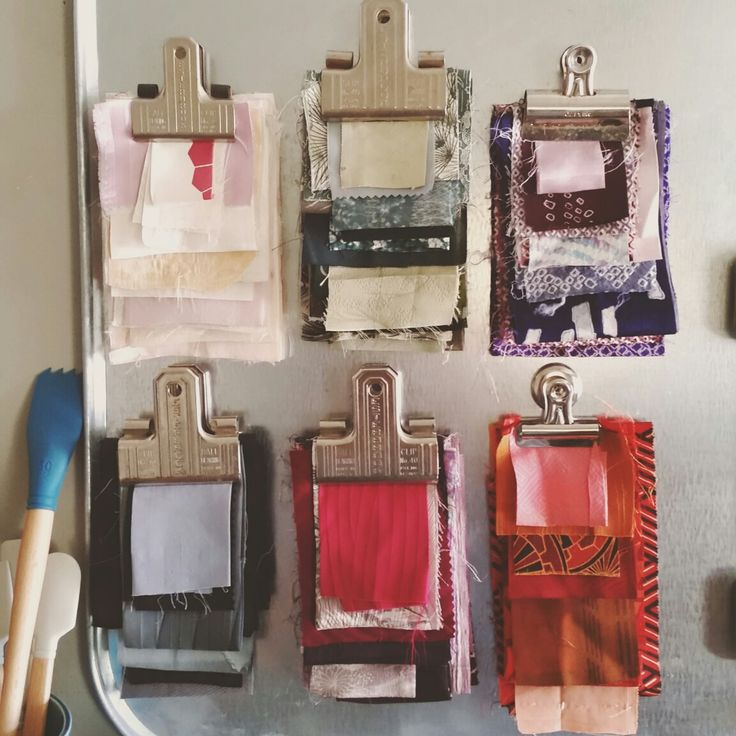 Japanese Kimono Silk Fabric Swatches - Display, organized, textile art, vintage, colors, inspiration board.