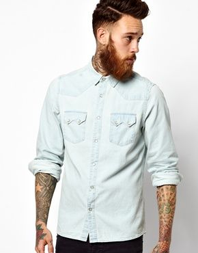 ASOS Western Shirt in Long Sleeve With Bleach Wash Denim