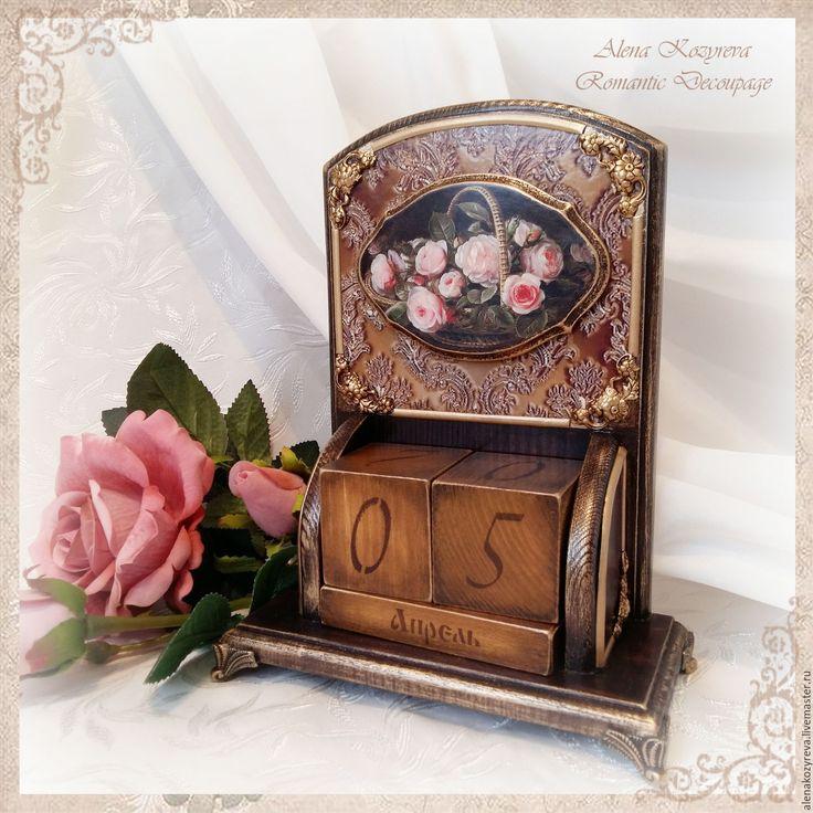 """Купить Вечный календарь """"Изысканные розы"""" (на заказ) - календарь декупаж, календарь в подарок"""