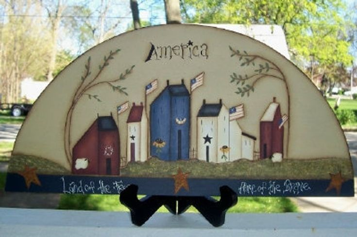 Primitive Americana Saltbox House Wood Door Crown Shelf Sitter Willow Tree Home Decor Flag Sheep Summer Handpainted Country Home Decoration – Primitive