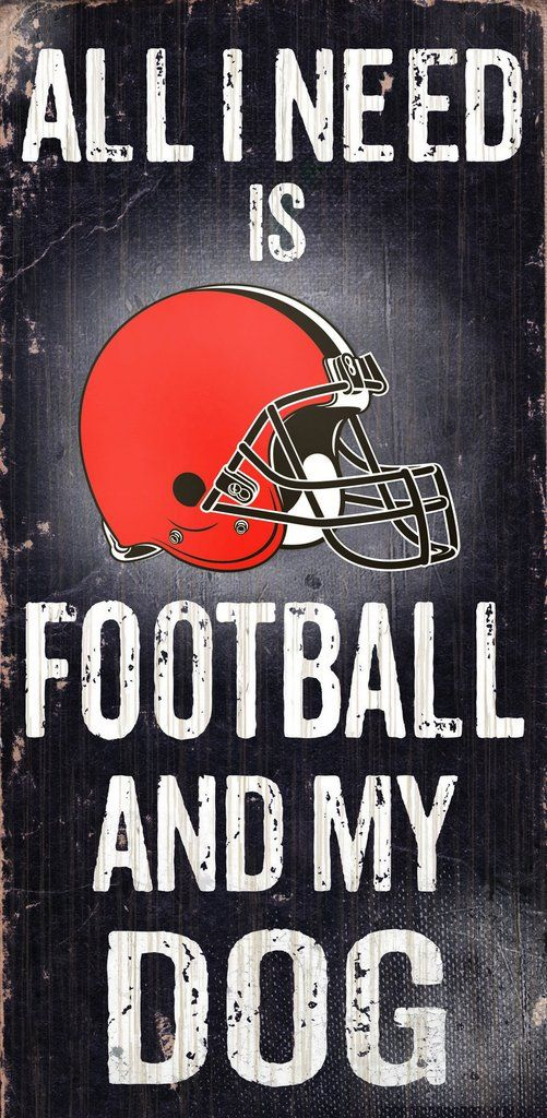 """Cleveland Browns Wood Sign - Football and Dog 6""""x12"""""""